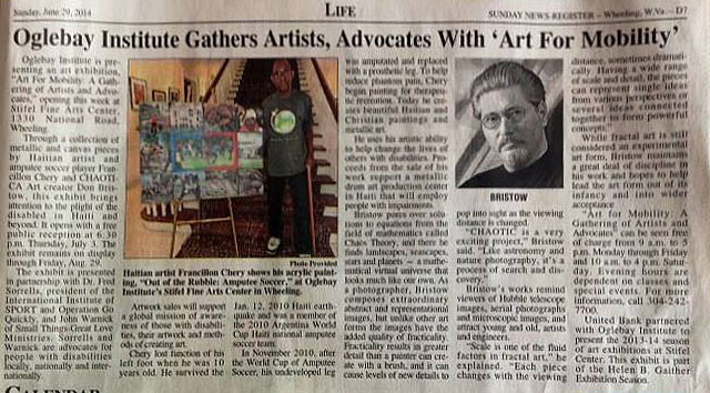 Newspaper Article in Wheeling, WV