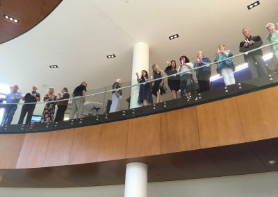 Artists gathered on the second floor prior to the helicopter drop
